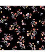 Jersey Stoff in schwarz mit feinen, bunten Blumenmotiven