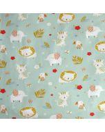 Weicher, bielastischer Jersey Stoff in mint mit süssen Tiermuster: Elefant, Tiger, Löwe und Kakadu. Der Stoff ist perfekt für Baby- und Kinderbekleidung, Unterwäsche und Nachtwäsche.