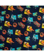 Bielastischer Jersey Stoff in dunkelblau mit Dinosaurier Muster aus dem Film 'Jurassic World'