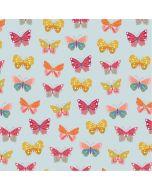 Baumwolle Popeline Stoff in hellblau mit Schmetterlingsmuster