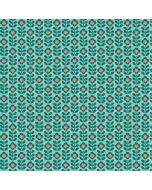 Baumwollpopeline Stoff in mint-grün mit Blumenmuster