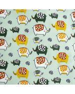 Flauschig weicher Sweat Stoff in mint mit süssen Elefantmuster für Baby- und Kinderbekleidung.