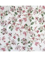 Super weicher Viskose - Modal Jersey Stoff in offwhite mit Kirschblüten-Motiven für sommerliche Tunikas, T-Shirts, Leggings oder Unterwäsche.
