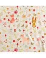 Bielastischer Jersey Stoff in ecru-melange mit süssen Fuchs- und Igelmotiven für Kinderbekleidung.