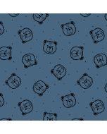 Super weicher Kuschelsweat Stoff in jeansblau mit Bärchen-Motiven in schwarz für weiche Pullis, Tunikas und Wohlfühl-Hosen.