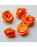 Satinrosen, orange, 1cm, 5 Stk.