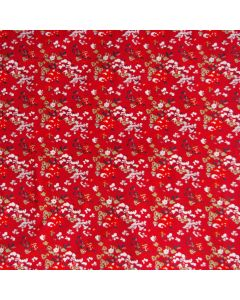 Jersey Stoff in rot mit Blumenmuster von Art Gallery Fabrics - der Stoff ist bielastisch, sehr weich, das Blumenmuster ist klein und bunt. Top Qualität für Bekleidung und Unterwäsche