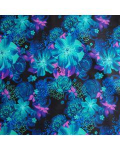 Badelycra - Lycra Stoff in Blau- und Türkistönen mit grossen Blumenmuster. Die Farben sind kräftig und sehr schön.