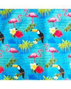 Glatter, blickdichter Badelycra Stoff in türkis mit Tukan- und Flamingo-Motiven für Badeanzüge, Tankinis, Bikinis.