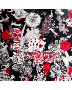 Lässig bunter Badelycra Stoff in schwarz-weiss mit teilweise roten Motiven - der Stoff ist irgendwie Gothic entsprechender Musterung: Totenkopf, Glücksspiel, Rosen, Karten, Tiger; usw.