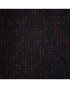 Lässiger Satin Stoff in schwarz mit Musterung in rostrot. Die Musterung besteht aus Binärcode-Ziffern - Stoffzusammensetzung: 100% Baumwolle