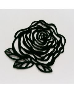 Samtapplikation, Rose, dunkelgrün
