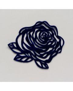 Samtapplikation, Rose, dunkelblau