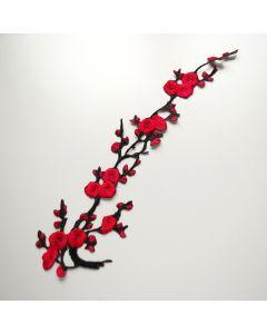 Aufbügelbare Stickerei - Spitzenapplikation in schwarz-rot - 42 x 12 cm