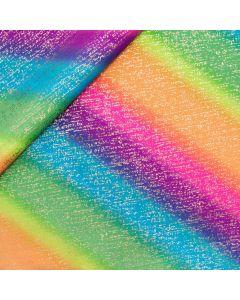 Glitzernder Lycra Stoff mit Farbverlauf-Streifen in Regenbogenfarben für Tanzkleidung, Kürkleider, Eiskunstlauf oder Rhytmische Gymnastik.