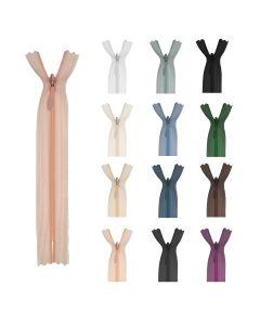 Nahtverdeckter Reissverschluss in verschiedenen, eher gedeckten Farben für diverse Näharbeiten - für elegante Röcke und Kleider, für Deko
