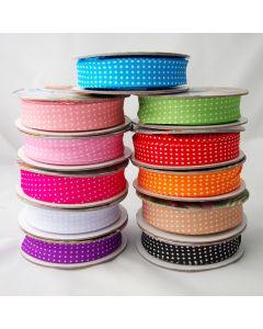 Getupftes Schrägband - Einfassband mit weissen Pünktchen in 11 Farben