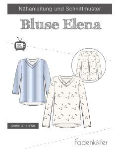 Tolles Schnittmuster für eine elegante Bluse 'Elena' von Fadenkäfer. Der Schnitt ist in zwei Varianten - für Damen und für Kinder - erhältlich.