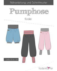 Schnittmuster für eine Pumphose für Kinder in den Grössen 50 bis 164 von Fadenkaefer - die Hose ist ein Basic-Schnitt, sehr leicht zu nähen, auch für Anfänger geeignet.