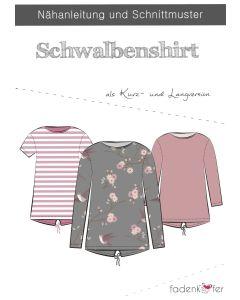 Schnittmuster für ein lockeres T-Shirt mit langen und kurzen Ärmeln 'Schwalbenshirt' von Fadenkäfer. Der Schnitt ist in 2 Varianten - für Damen und für Kinder - erhältlich.