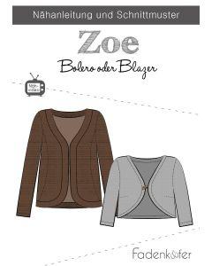 Bolero Schnittmuster in zwei Längen (Blazer) für Damen oder Mädchen von Fadenkäfer.