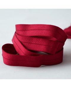 16mm breiter Falzgummi / elastisches Einfassband in rubinrot, leicht glänzend für Unterwäsche oder hautenge Bekleidung.