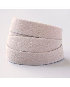 Weicher Unterwäschegummi in beige/hautfarbe mit Silikonstreifen. Das Silikon haftet an der Haut und lässt den Gummi nicht verrutschen