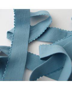 Breites, sehr weiches Unterhosengummiband mit einer Schmuckkante - das Gummiband ist blaugrau - 27mm breit.