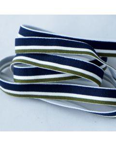 Schmales Gummiband in grün-weiss-blau gestreift in der Budgetpackung für Unterwäsche, Oberbekleidung.