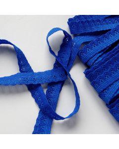 Elastische Spitze - Spitzenband in königsblau - 10mm breit für Rocksäume, hautnahe Bekleidung oder Unterwäsche.