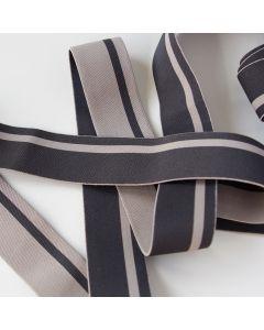 Unterhosen-Gummiband in dunkelgrau-taupe gestreift - 3.5cm breit für Unterhosen, Trainingshosen und Bustiers.