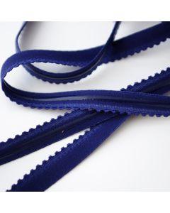 Mittelstarkes Gummiband in dunkelblau mit transparentem Silikonstreifen auf einer Seite - 12mm breit.