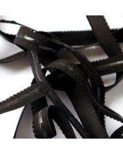 Mittelstarker Antirutsch-Gummiband in schwarz mit transparentem Silikonstreifen für Tanz- und Kürkleider. Die Silikonbeschichtung sollte Hautkontakt haben.