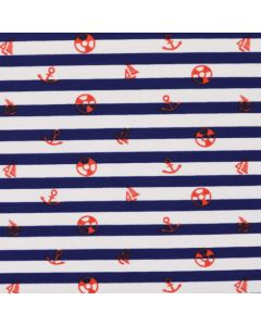 Maritim Lycra - Badelycra Stoff in dunkelblau-weiss