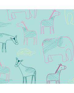 Sweat Stoff mit Elefant - Antilope - Zebra-Motiven in mint