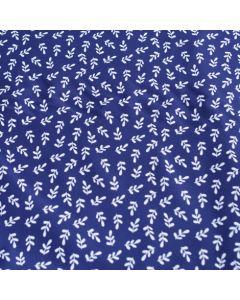 Lycra, Badelycra Stoff mit Blattmotiv in dunkelblau