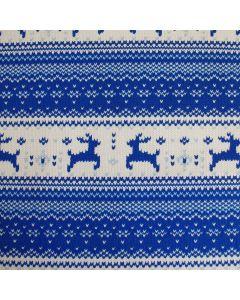 Winterlicher Sweat Stoff in blau und grau mit süssen Rentier-Motiven für warme Pullis, Hoodies, Mützen, Schals oder Decken