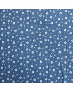 Weicher Musselin Stoff in jeansblau mit weissem Blumenmuster