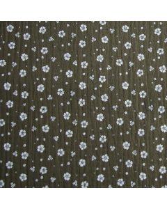 Weicher, eher dunkler Musselin - Double Gauze Stoff in olivgrün mit feinem Blumenmuster in weiss für Damenbekleidung und Accessoires.