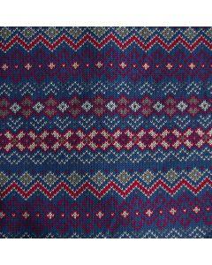Winterlicher Sweat Stoff in blau und fuchsia mit nordischen Motiven für warme Pullis, Hoodies, Mützen, Schals oder Decken