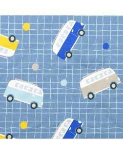 Jeansblauer Sweat Stoff mit VW-Bus Muster