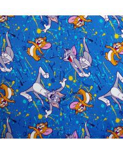 Sweat Stoff in blau mit Motiven aus der Zeichentrickserie 'Tom und Jerry' - der Stoff ist perfekt für Kinderbekleidung.