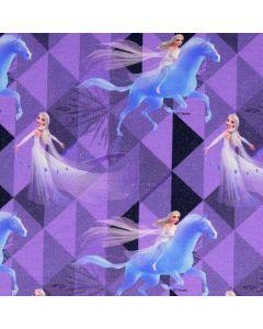 Jersey Stoff mit Elsa- und Anna-Motiven aus dem Disney Film Eiskönigin (Frozen). Der Stoff ist bielastisch aus Baumwolle, perfekt für Kinderbekleidung und Unterwäsche.
