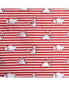 Bielastischer Jersey Stoff in rot-weiss gestreift mit lässigen Dinosauriermuster für Kinderbekleidung und Unterwäsche.