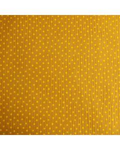 Weicher Musselin Stoff in ocker mit feinen, kleinen Sternchen-Muster. Der Stoff ist perfekt für Kinder- und Damenbekleidung.