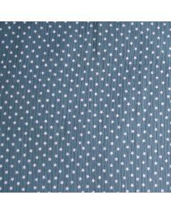 Musselin Stoff in jeansblau mit Stern-Muster