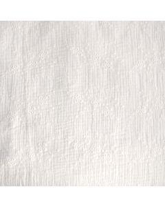 Weicher, doppelt gewobener Musselin Stoff (Double Gauze) in ecru mit ecrufarbiger Stickerei für schöne, lockere Sommerkleider, Hosen, Blusen.