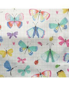 Lässiger Dekostoff - Halbpanama Webware - in naturecru mit bunten, hellen Schmetterlingsmuster für Dekokissen, Vorhänge, Taschen und Dekoartikel.