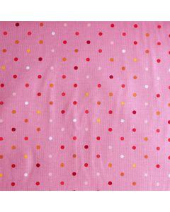 Weicher Jersey Stoff in rosa mit kleinen, bunten Pünktchen in gelb, weiss, orange und rot für Kinderbekleidung und Unterwäsche.