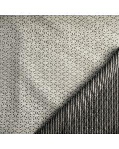 Dicker Waffelstepper Stoff  in graumelange und grau-silber gestreift: der Stoff ist Double Face - beide Oberflächen können als Rechte Seite verwendet werden.